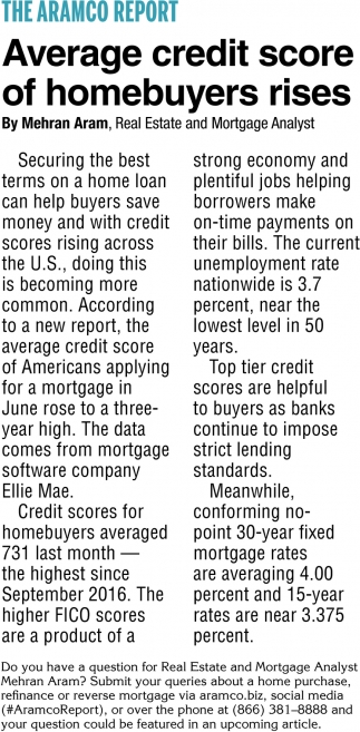 Average Credit Score of Homebuyers Rises