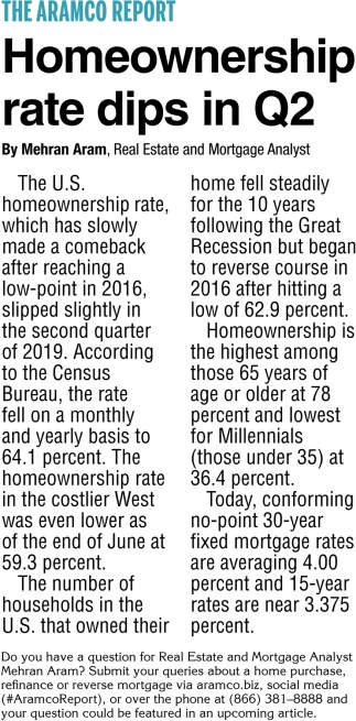 Homeownership Rate Dips in Q2