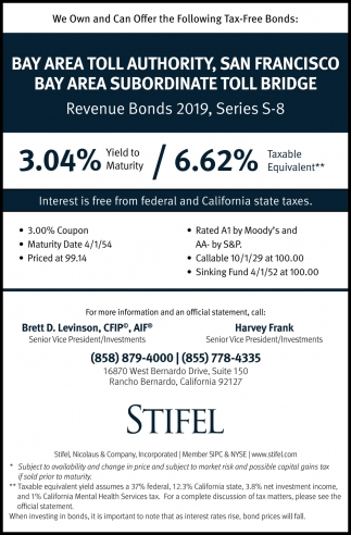 We Own and Can Offer the Following Tax-Free Bonds