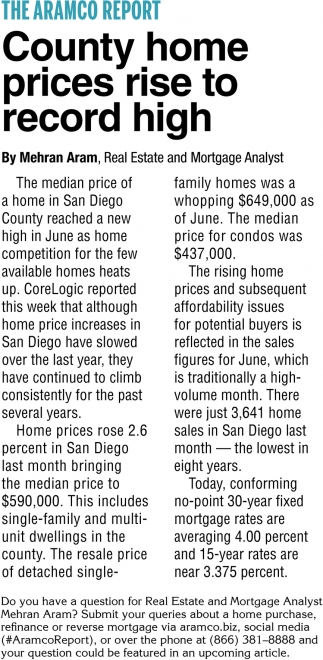 County Home Prices Rise to Record High