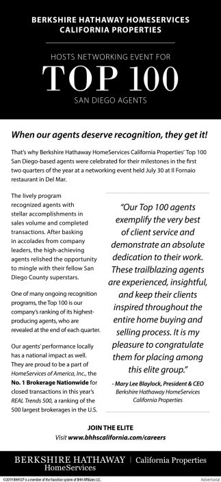 Top 100 San Diego Agents