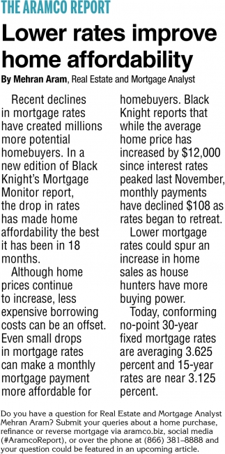 Lower Rates Improve Home Affordability