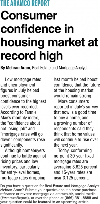 Consumer Confidence in Housing Market at Record High