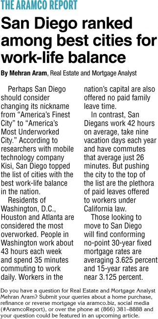 San Diego Ranked Among Best Cities for Work-Life Balance
