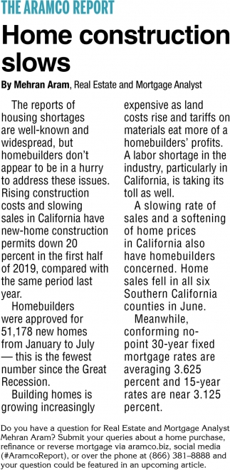Home Construction Slows