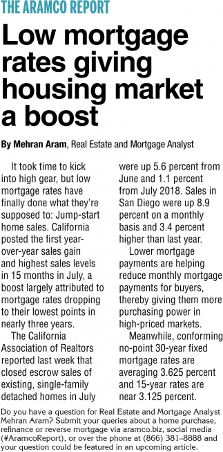Low Mortgage Rates Giving Housing Maket a Boost