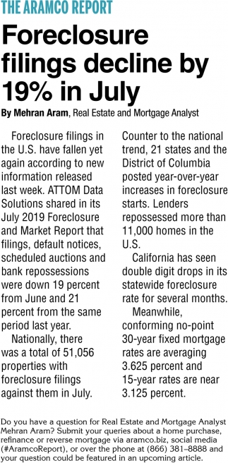 Foreclosure Filings Decline by 19% in July