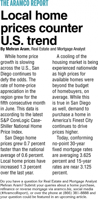 Local Home Prices Counter U.S Trend