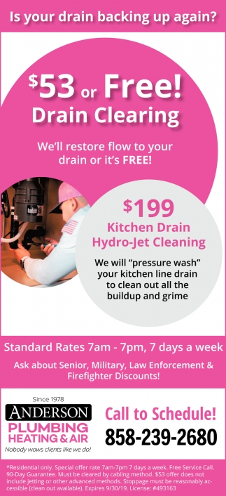 $53 or Free Drain Cleaning