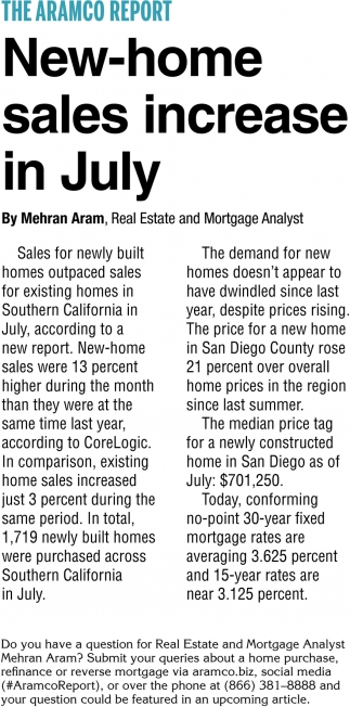 New-Home Sales Increase in July