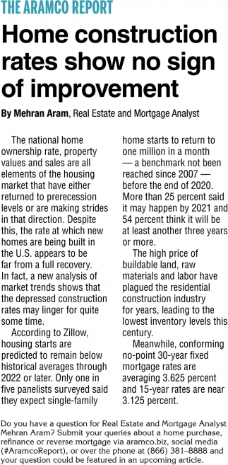 Home Construction Rates Show No Sign of Improvement