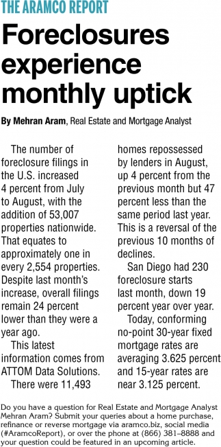 Foreclosures Experience Monthly Uptick