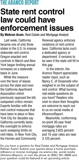 State Rent Control Law Could Have Enforcement Issues