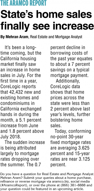 State's Home Sales Finally See Increase