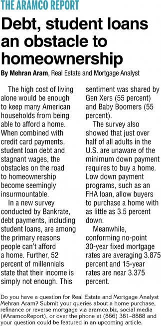 Debt, Students Loans an Obstacle to Homeownership