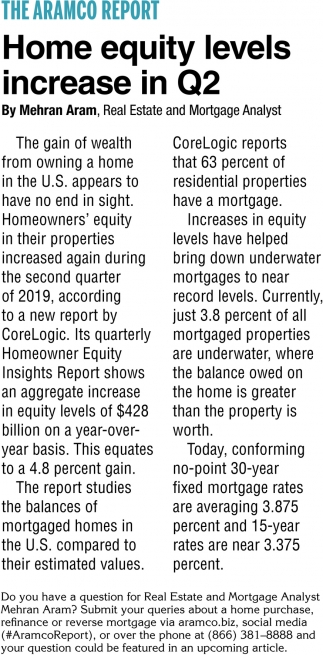 Home Equity Levels Increase in Q2