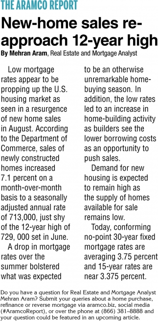 New-Home Sales Re-Approach 12-Year High