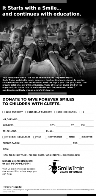 Donate to Give Forever Smiles to Children with Clefts