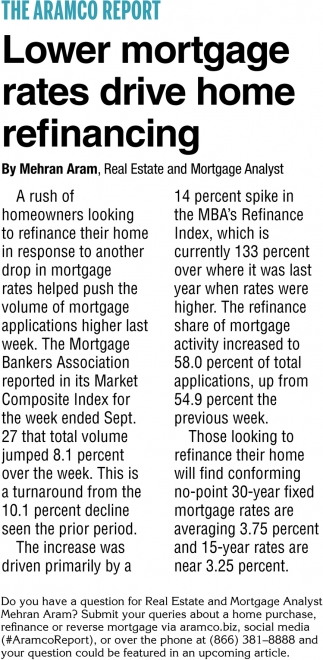 Lower Mortgage Rates Drive Home Refinancing