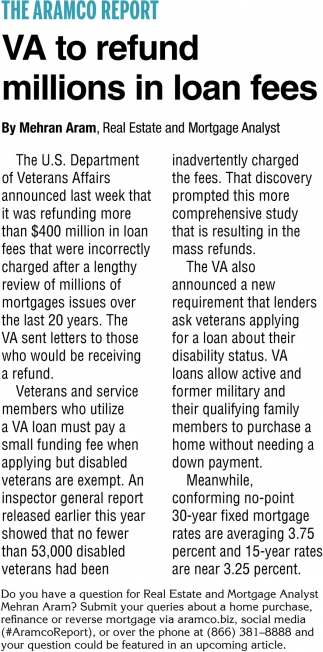 VA to Refund Millions in Loan Fees