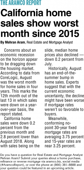 California Home Sales Show Worst Month Since 2015