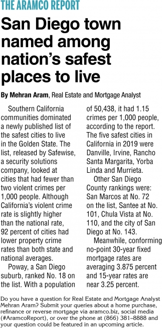 San Diego Town Named Among Nation's Safest Places to Live