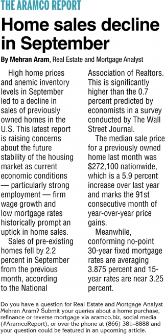 Home Sales Decline in September