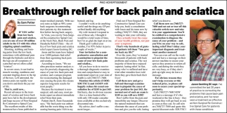 Breakthrough Relief for Back Pain and Sciatica