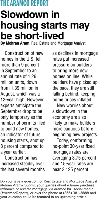 Showdown In Housing Starts May Be Short-Lived