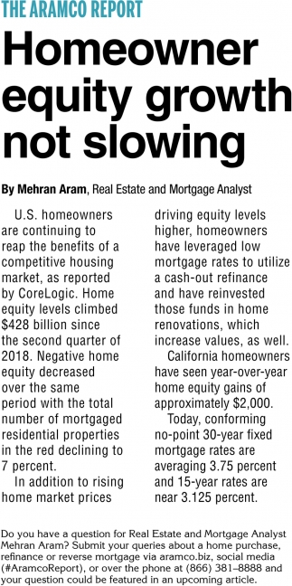 Homeowner Equity Growth Not Slowing