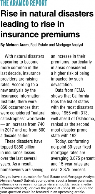 Rise In Natural Disasters Leading to Rise in Insurance Premiums