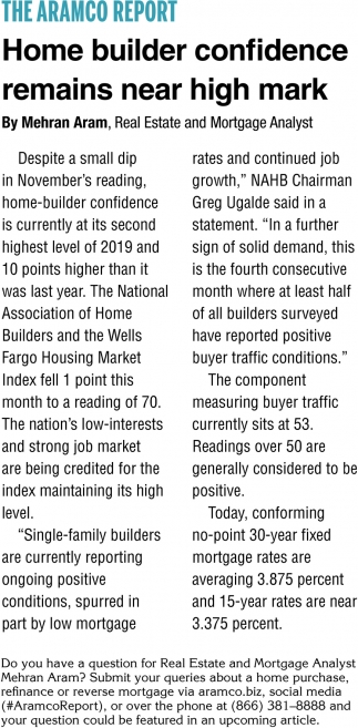 Home Builder Confidence Remains Near High Mark