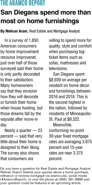 San Diegans Spend More than Most on Home Furnishings