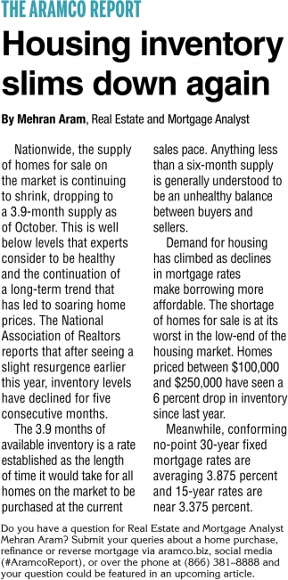 Housing Iventory Slims Down Again