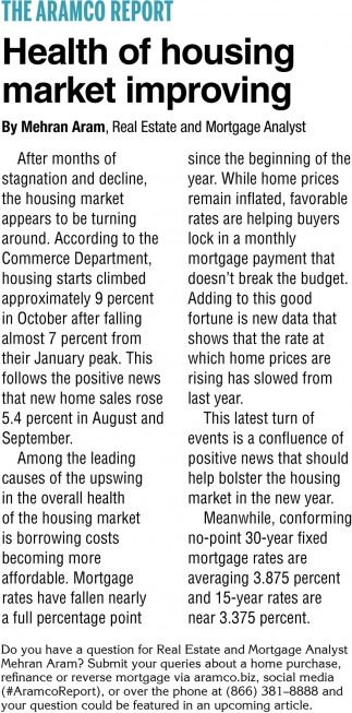 Health of Housing Market Improving
