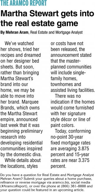 Martha Steward Gets Into the Real Estate Game