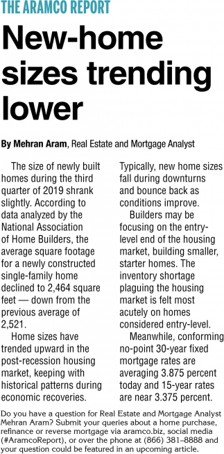 New-Home Sizes Trending Lower