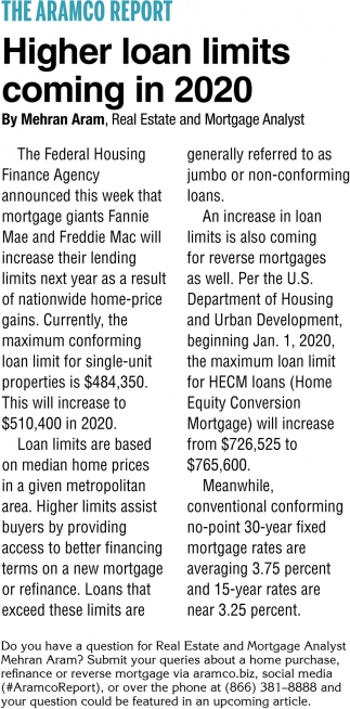 Higher Loan Limits Coming in 2020