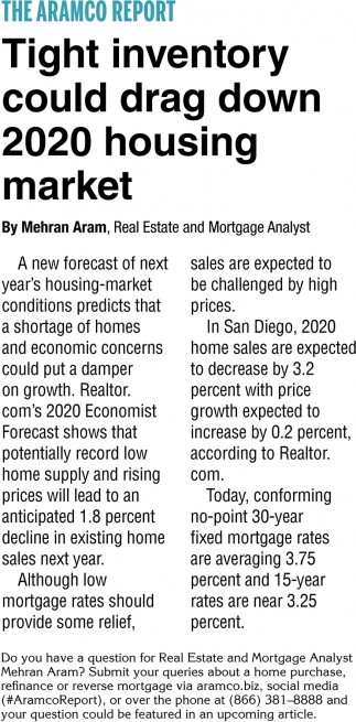 Tigh Inventory Could Drag Down 2020 Housing Market