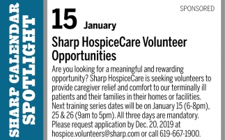 Sharp HospiceCare Volunteer Opportunities