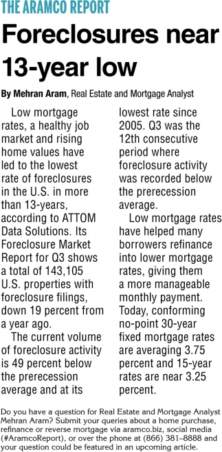 Foreclosures Near 13-Year Low