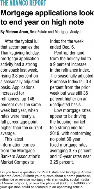Mortgage Applications Look to End Year on High Note
