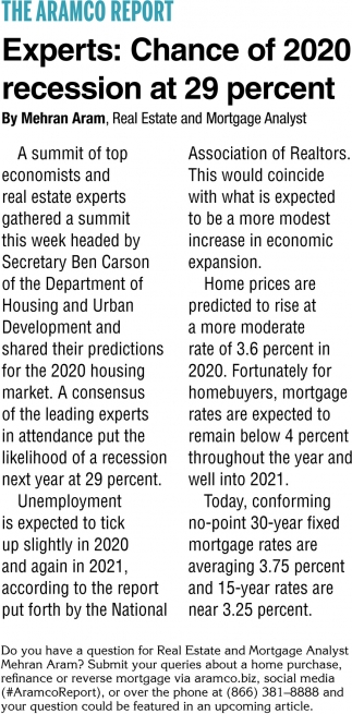 Experts: Chance of 2020 Recession at 29 Percent