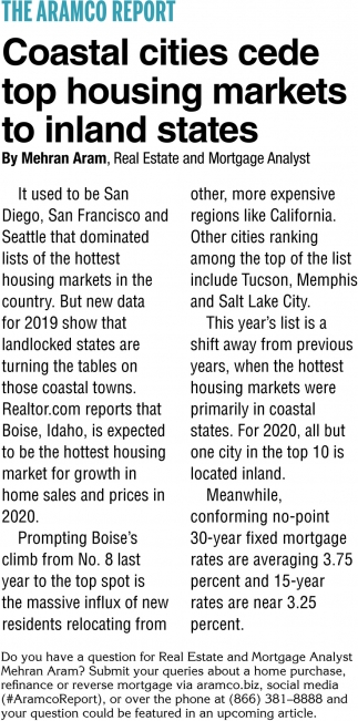 Coastal Cities Cede Top Housing Markets to Inland States
