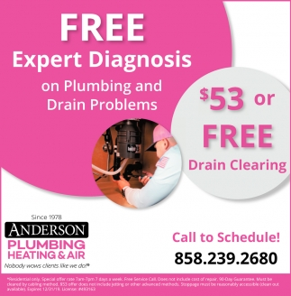Free Expert Diagnostis on Plumbing and Drain Problems