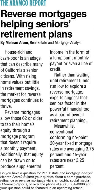 Reverse Mortgages Helping Seniors' Retirement Plans