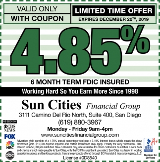 4.85% 6 Month Term FDIC Insured