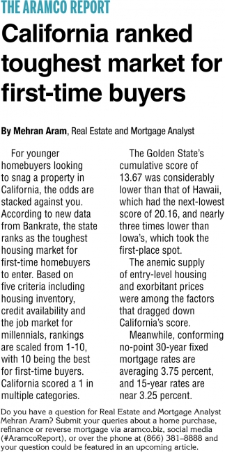 California Ranked Toughest Market for First-Time Buyers