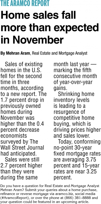 Home Sales Fall More than Expected In November