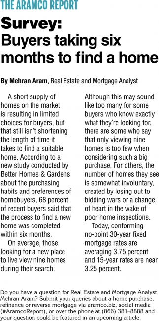 Survey: Buyers Taking Six Months to Find a Home